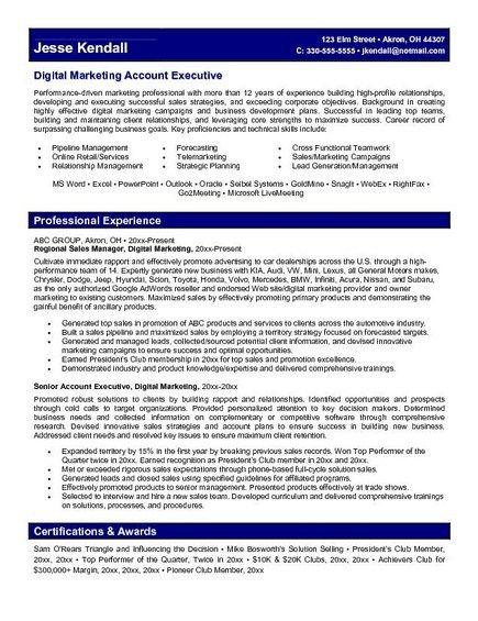 resume marketing manager