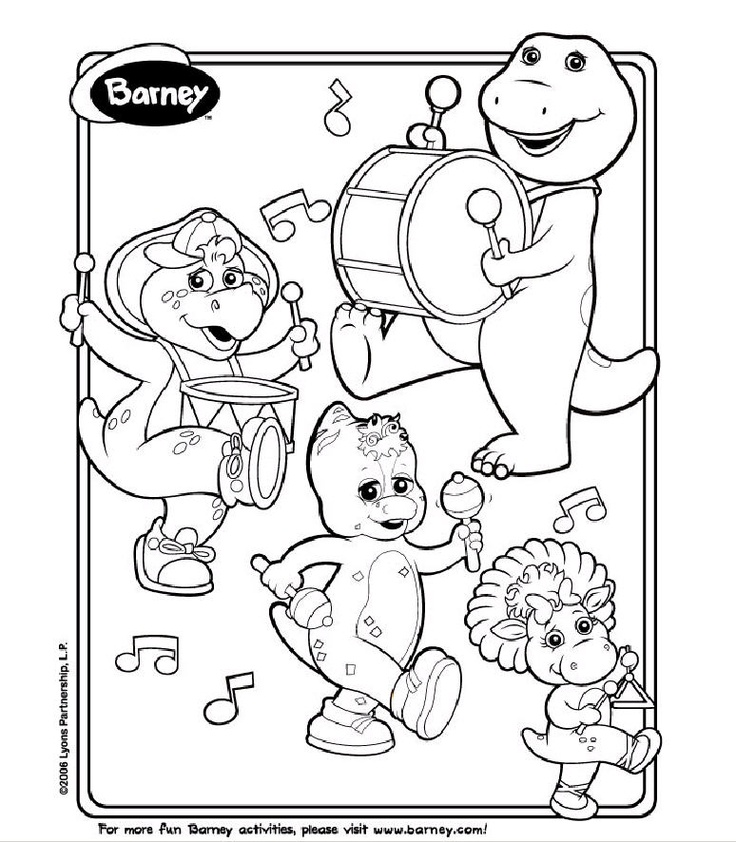 free printable barney coloring pages - Barney Dinosaur Coloring Pages