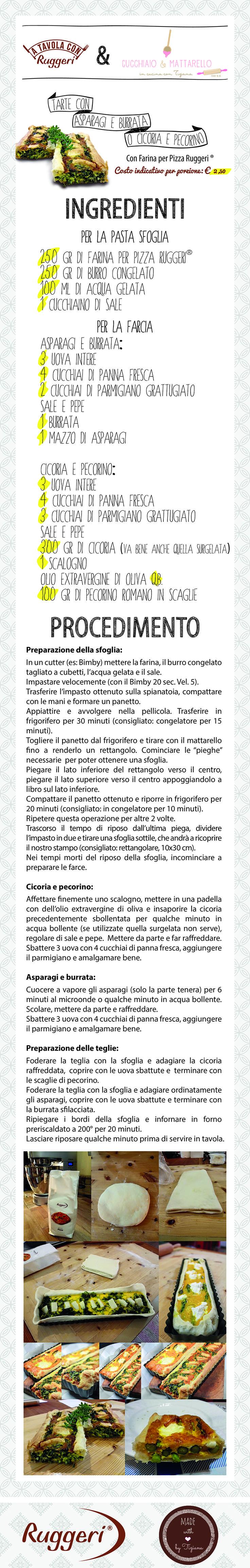 Ricetta per tarte con asparagi e burrata o cicoria e pecorino. Prodotti Ruggeri utilizzati: - Farina per Pizza Ruggeri.  http://www.ruggerishop.it/it/ http://blog.alice.tv/cucchiaioemattarello/