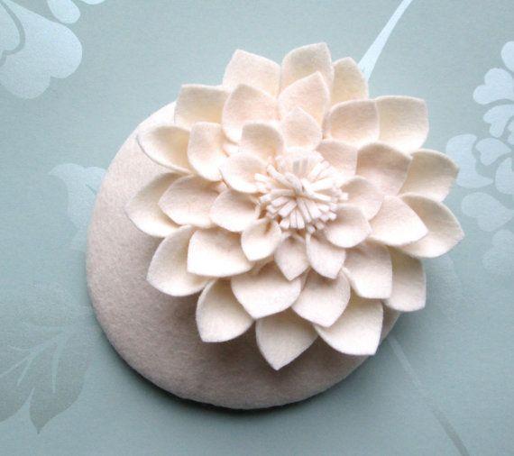 Cream Felt Hat  Dahlia Flower Cream by LillibetsMillinery on Etsy, £42.00