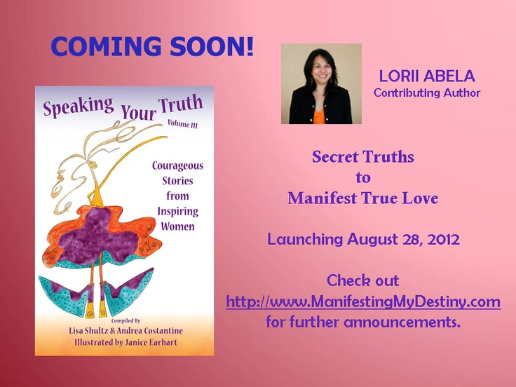 Whoohoo!  Thanks for all your support.  Please watch out for my first ever published contribution to Speaking Your Truth. http://manifestingmydestiny.com/products/674-2/