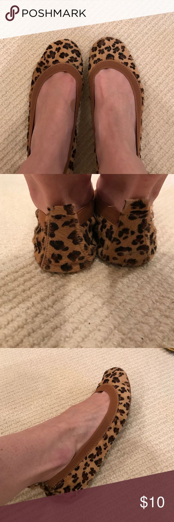 Yosi Samra Cheetah Flats. Cheetah flats with rubber soles and a tan elastic band around the foot. Tab on the heal to pull the shoe on. Please see imperfection on bottom of shoe leather in picture 4. Yosi Samra Shoes Flats & Loafers