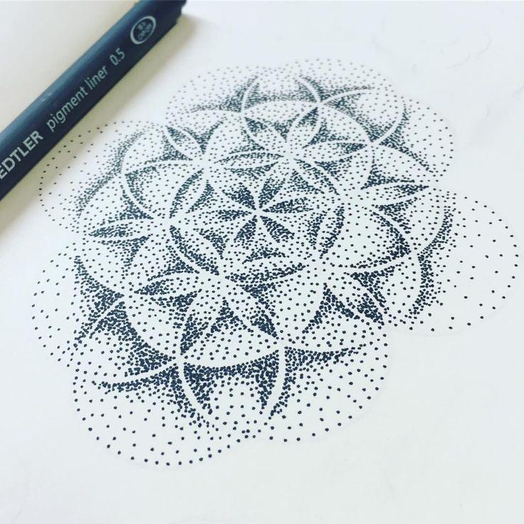 """The flower of life blooms in love and radiates love all around it"" ~ Maharishi Mahesh Yogi   • #floweroflife #sacredgeometry #wip #workinprogress #drawing #miss_fino #fun #Moleskine #Staedtler #pigmentliner #mystaedtler #tattoo #design #tattoodesign #tattooapprentice #mandala #zen #zenspiration #dotwork #dots #stippling #blackandwhite #bloom #radiatelove #love #quote #qotd"