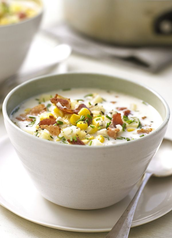 This creamy, hearty soup is packed with sweetcorn, potato and crisp bacon. It's made with milk rather than cream so it's also surprisingly low-cal. A quick warming supper for two.