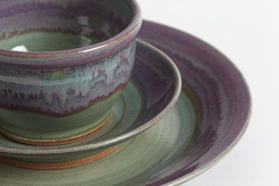 Made to order. This beautiful set uses five separate glazes to achieve its beautiful finish. This stoneware dinner place setting includes a