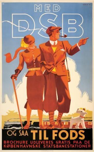 DSB fremstiller flere smukke plakater om at kombinere togrejse og vandreture, som denne af Erik Frederiksen fra 1936.