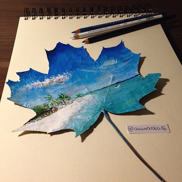 This 16-year-old artist uses fallen leaves to create stunning paintings. landscape study page