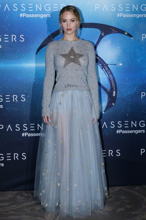 29 November Jennifer Lawrence looked beautiful in a blue Dior tulle skirt and star-print jumper for a Passengers photo call in Paris.