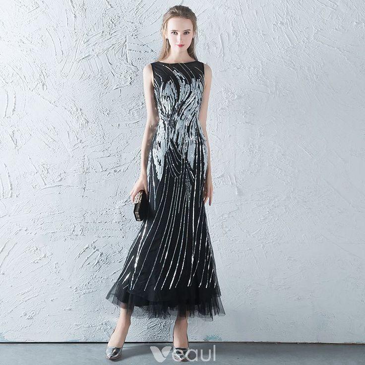Sparkly Black Grey Evening Dresses 2017 A-Line / Princess Scoop Neck Sleeveless Sequins Ankle Length Backless Pierced Formal Dresses