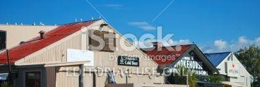 Apple Shed Roofs, Mapua Wharf, Tasman Region, New Zealand Royalty Free Stock Photo