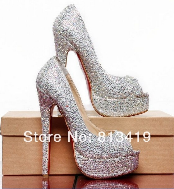 Silver Beaded Heels