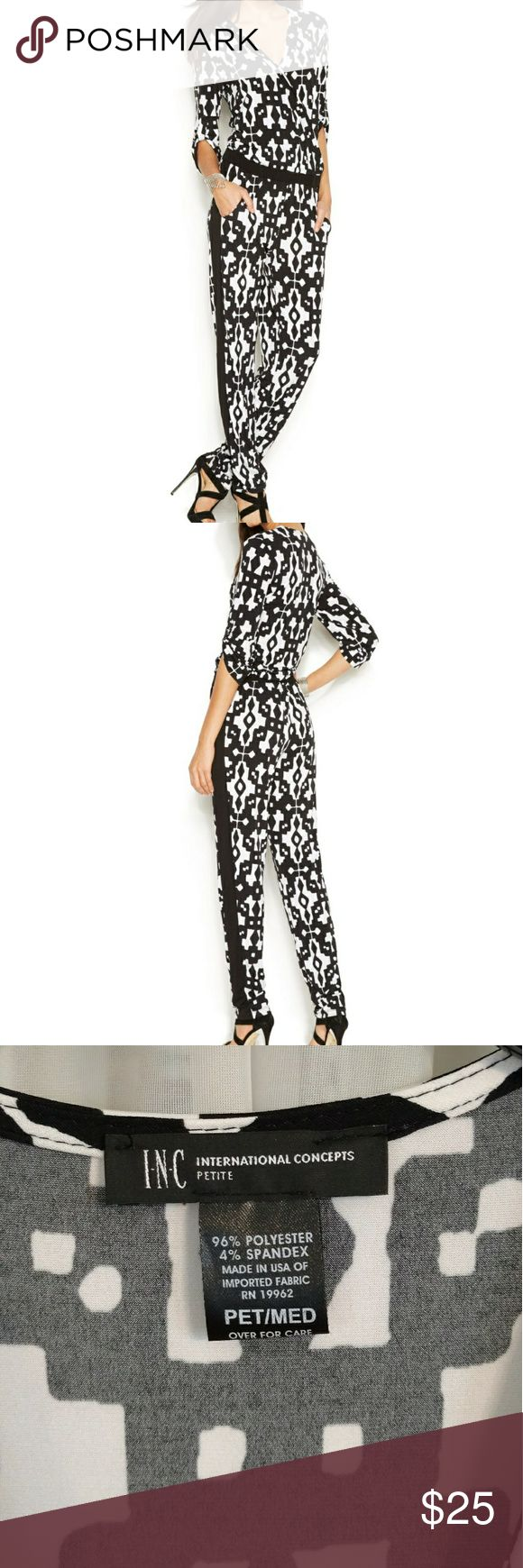 Jumpsuit - LIKE NEW - petite medium INC jumpsuit from Macy's. Petite medium. Like new-Worn ONCE! Black/white, perfect for any occasion. 3/4 length sleeves, pockets, roll-up button on sleeves to make shorter if desired. INC International Concepts Pants Jumpsuits & Rompers