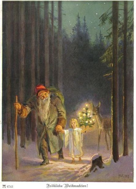 December Bird......Christkind Weihnachtsmann St. Nikolaus (old germany christmas card