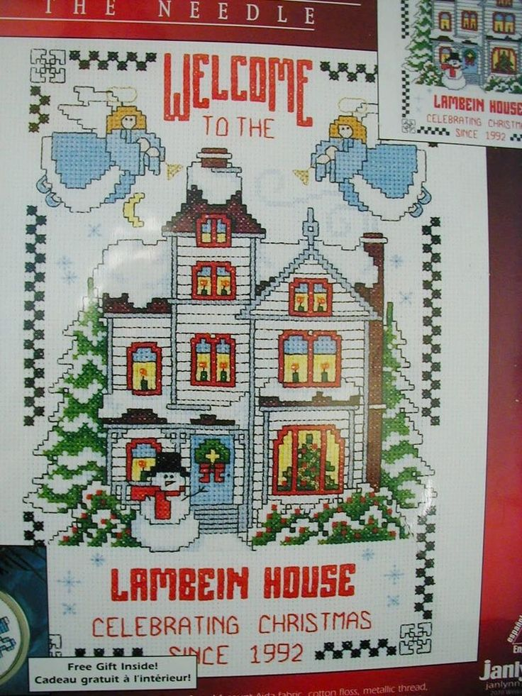 Christmas Cross Stitch Kit Sealed Welcome House Tradition Celebrate Personalize #Janlynn #Picture