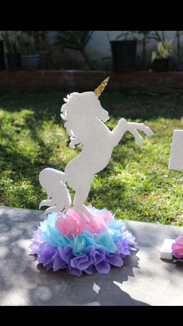 Unicorn Centerpieces By Rivera Crafts Unicorn Birthday Unicorn Centerpiece Birthday Party