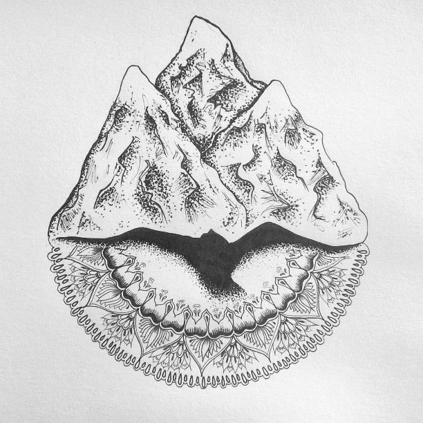 Custom Tattoo, micron mountain, mandala range