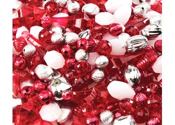 Red Chunky Funky Beads 200g.  Let their imagination run wild with these assorted shapes & colours.