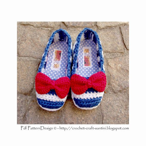I had espadrilles in mind when I made these one-piece home shoes. So cute and pretty with the red bow! And you can turn them into street shoes by adding crochet sole and special treatment! See this listing, and the last 2 images: