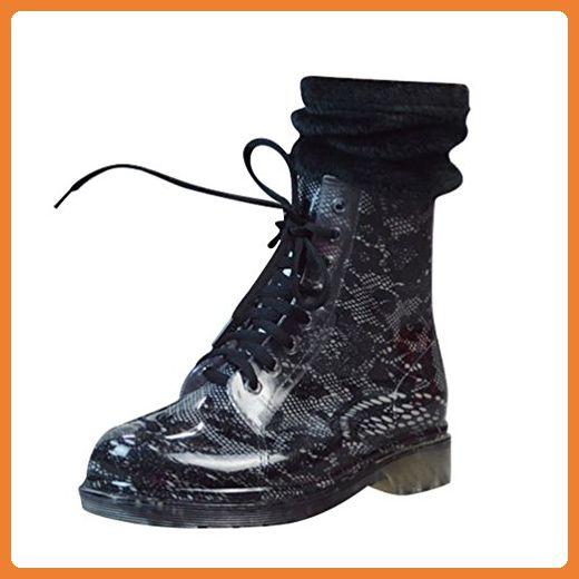 LvRao Damen Winter Warm Wasserdichte Stiefel Regen Schnee Schnürschuhe Hohe Knöchel Gummistiefel Schwarz 2 mit Socken 39 - Stiefel für frauen (*Partner-Link)