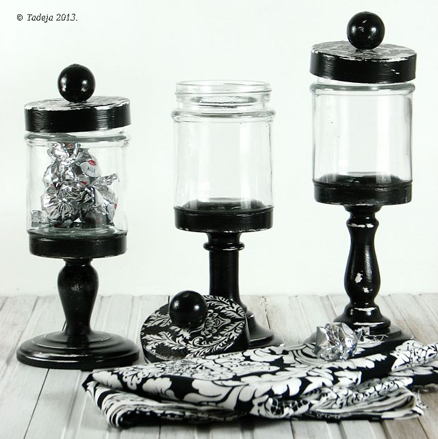 T and T kitchen and atelier: ::DIY damask black and white apothecary jars ::