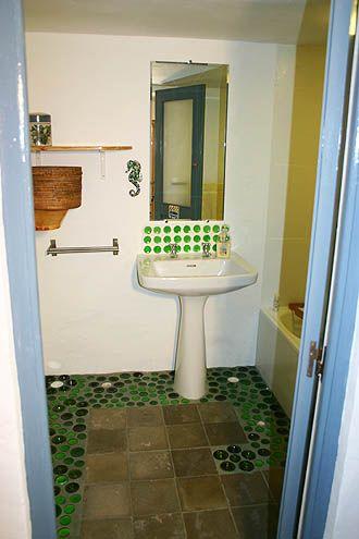 Casa Verde bottle bottoms mosaic bathroom