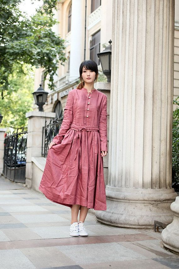 Street Lights-Dark pink long sleeve dress(more colour and size choice)