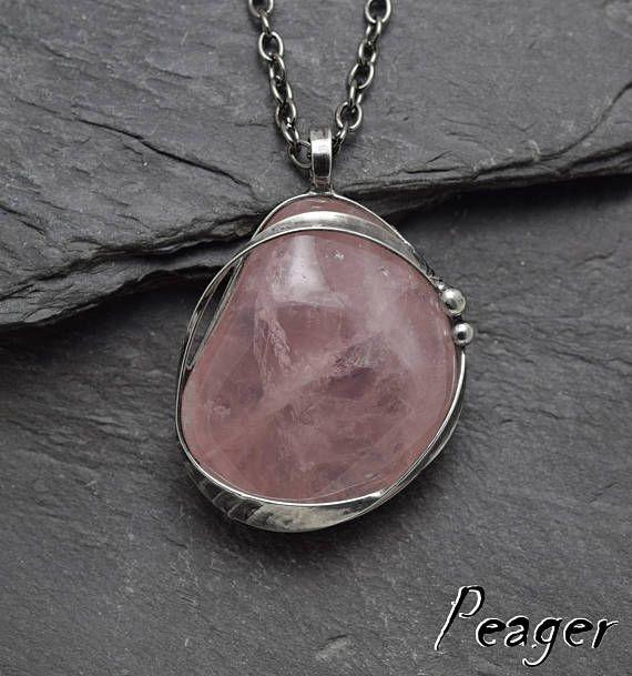 Rose Quartz pendantRose Quartz necklaceBohemian pendantLove