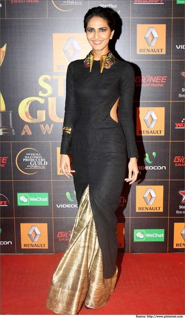 Gorgeous mix of a sari and dress.