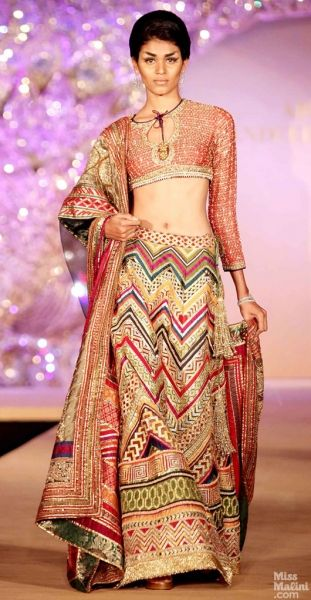 Colorful lengha. Abu Jani and Sandeep Khosla presents The Golden Peacock Collection. #saree #indian wedding #fashion #style #bride #bridal party #gorgeous #elegant #blouse #lengha #desi style #designer #outfit #inspired #beautiful #must-have's #india