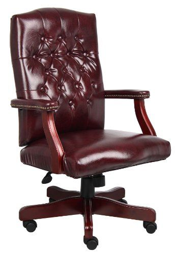 Boss Office Products B905-BY Classic Executive Caressoft Chair with Mahogany Finish in Burgundy