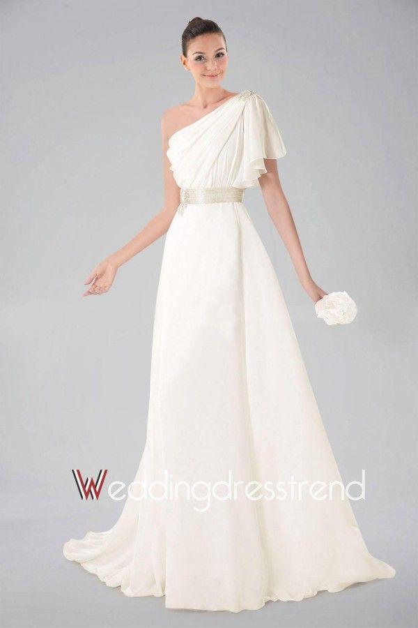Graceful Ruched Ruffled One-shoulder A-line Wedding Dress