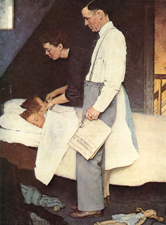 Freedom from fear  - Norman Rockwell Art - 1943 Vintage Print Saturday Evening Post Cover FREE shipping,