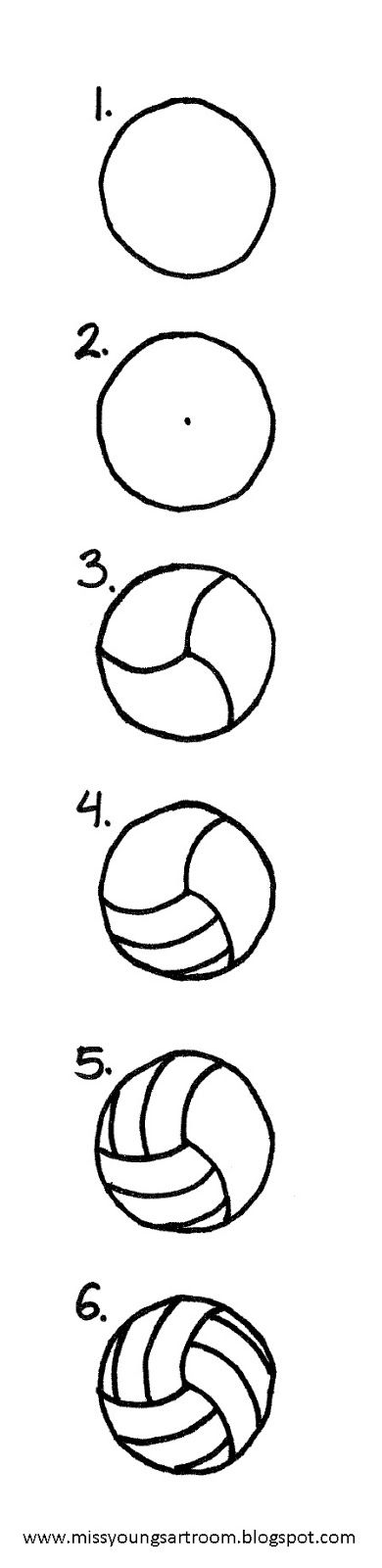 Miss Young's Art Room: How to Draw a Volleyball. Instead of a volleyball, I envision the sections painted with different colors