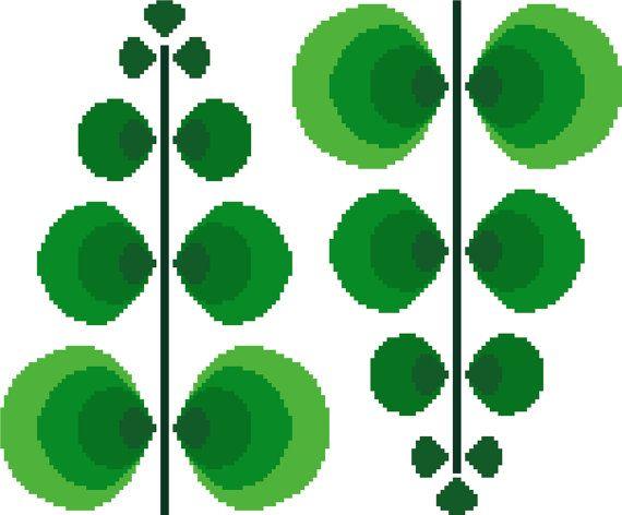 Fun retro fern cross stitch pattern. Mid by crossstitchtheline