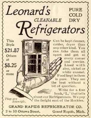 1900 AD FOR GRAND RAPIDS CO. LEONARD'S REFRIGERATORS
