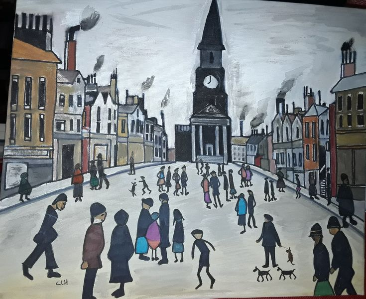 My attempt at a Lowry, includes a few characters of my own.