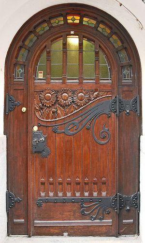 wood, glass, iron: The Doors, Art Nouveau, Carvings Woods, Front Doors, Antiques Doors, Wooden Doors, Woods Doors, Stains Glasses, Beauty Doors