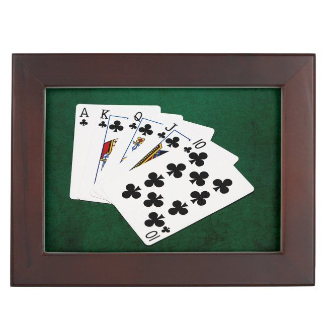 Poker Hands Royal Flush Clubs Suit Memory Box Zazzle Com Poker Hands Memory Box Poker