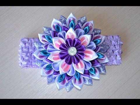 Повязка на голову для девочки канзаши мастер класс DIY headband for girl handmade kanzashi - YouTube