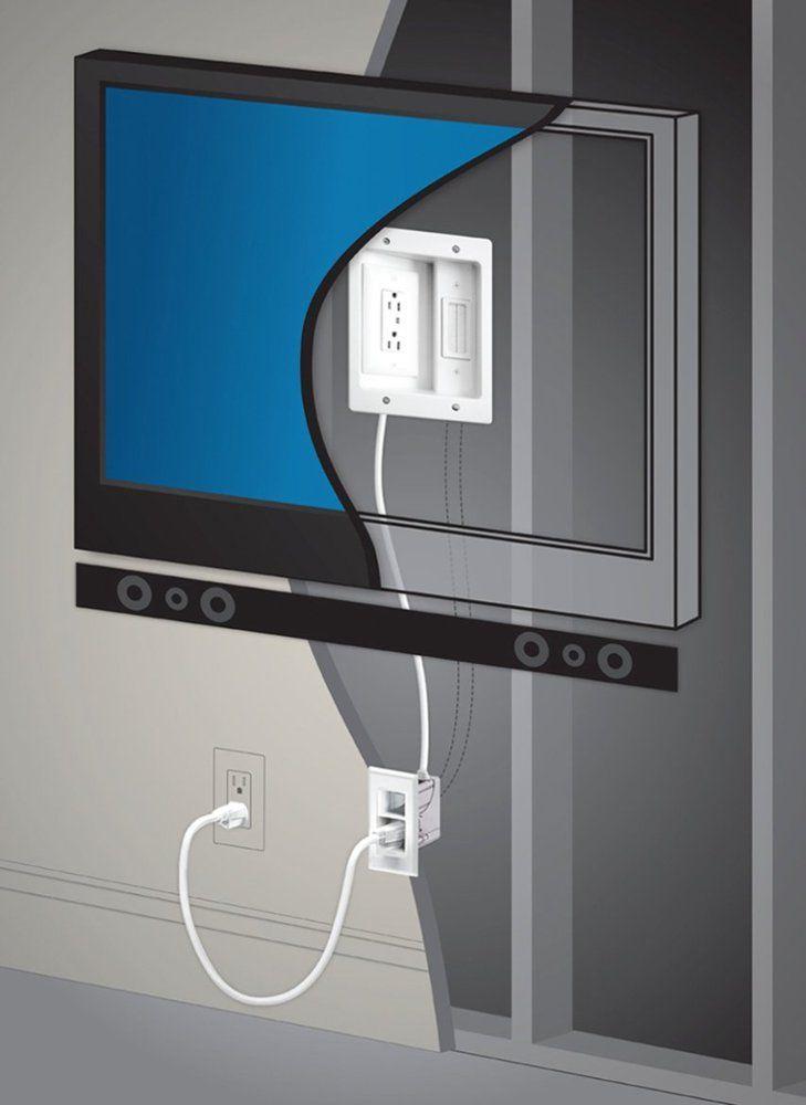 Legrand In Wall Tv Power Kit White Ht2202 Wh V1 Best Buy Diy Tv Wall Mount Wall Mounted Tv Mounted Tv