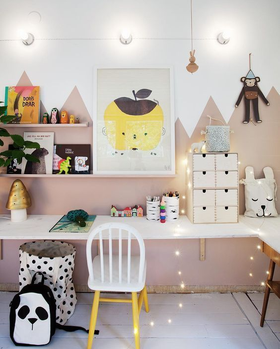 fun study corners to spark the imagination - graphic wall art, twinkly lights, pops of color, and fun pillows