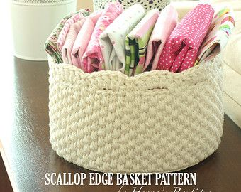 Crochet Basket Pattern - Round Scallop Edge Basket - PDF