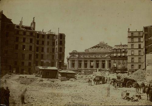 Construction de l'opéra Garnier et avenue de l'Opéra vers 1867 par charles garnier et le baron Haussmann