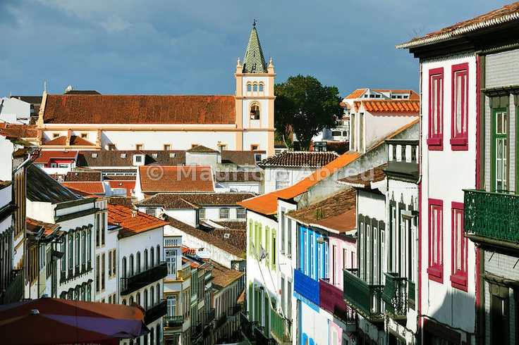 Historical center of Angra do Heroísmo (UNESCO World Heritage Site) with the Motherchurch. Terceira, Azores islands, Portugal