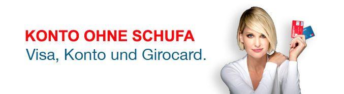 Konto ohne Schufa! Girokonto ohne Stress und ohne viele Fragen trotz negativer Schufa! Konto inkl. Girocard (früher ec/maestro-Karte) und VisaCard Kreditkarte ohne Schufa!