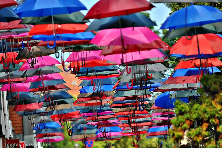 Kiskunhalas, city, street, umbrella, color, Hungary, art