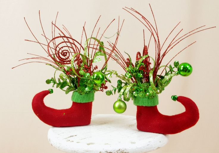 Two Elf Arrangements * Red and Green Elf Boots * Elf Centerpiece * Christmas Decoration * Elf Decor * Holiday Elf * Holiday Decor * Red by englishrosedesignsoh on Etsy