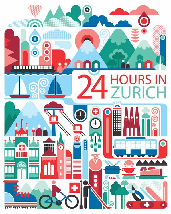 24 hours in Zurich, Switzerland is part of a series designed by Fernando Volken Togni for the Oryx Magazine, Qatar Airways. If you like this illustration check out India, South Africa, Egypt, Montreal, London, Paris Moscow, Ho chi Minh City, Shanghai, Barcelona, Casablanca, Beirut, New York and Phuket