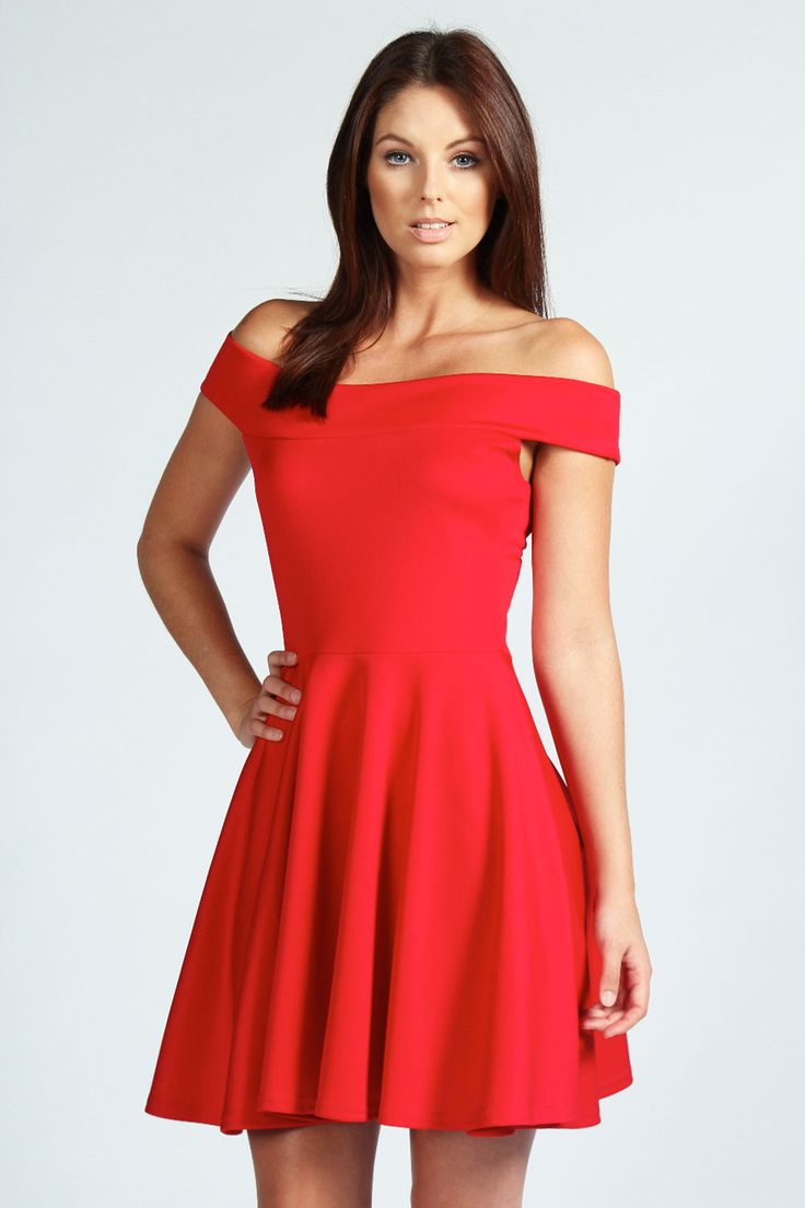 Off The Shoulder Skater Dress In 2019 Homecoming Red