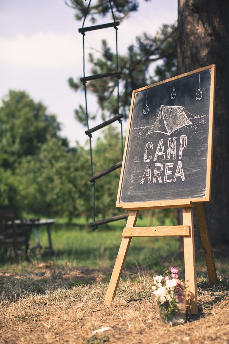 WEDDING CAMP AREA SIGN - chalk - blackboard - drawing - tent - flowers - outdoor